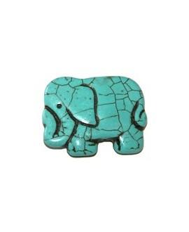 Howlita elefante turquesa 40x30mm, paso 1mm