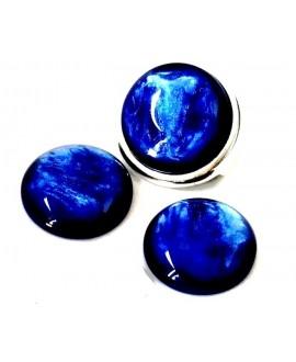 Cabujón de resina polaris 20mm azulón nacarado