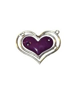 Colgante corazón doble 85x70mm, resina morado y zamak baño de plata