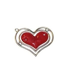 Colgante corazón doble 85x70mm, resina rojo y zamak baño de plata