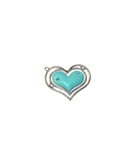 Colgante corazón doble 85x70mm, resina turquesa y zamak baño de plata