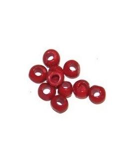 Cuenta mini resina irregular roja, tamaño aproximado 6mm, paso 3mm