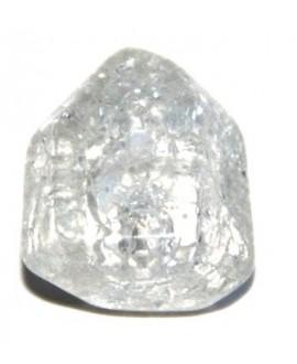 Cuenta resina pirámide craquelada transparente 20x20mm