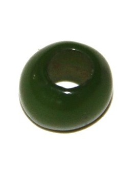 Cuenta resina verde, 7x6mm, paso 4mm