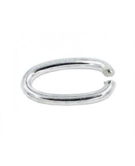 Anilla anilla ovalada baño de plata 16mm de largo y 8,5mm de ancho, hilo de 1,8mm, precio por 12 unidades