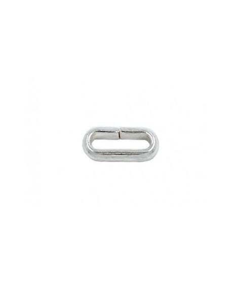 Anilla anilla ovalada baño de plata, 8mm de largo y 4mm de ancho, hilo de 1,1mm, precio por 12 unidades