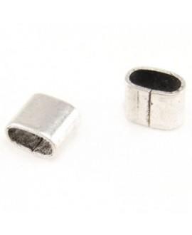 Anilla grapa grapa 5x5x4mm bañada en plata para presionar y fijar cintas o cuero de 5 mm, precio por 15 unidades