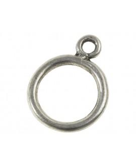 Aro con anilla 24x18mm paso 3mm, zamak baño de plata