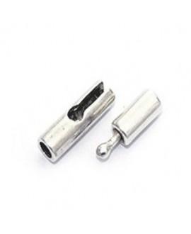 Cierre tipo gancho, 25x5mm paso 2mm, zamak baño de plata