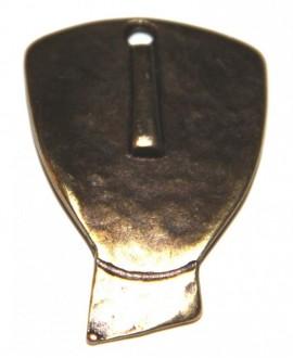 Colgante cara 38x28mm, zamak baño de bronce