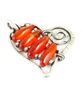 Colgante corazón 60x65mm resina color naranja y zamak baño de plata