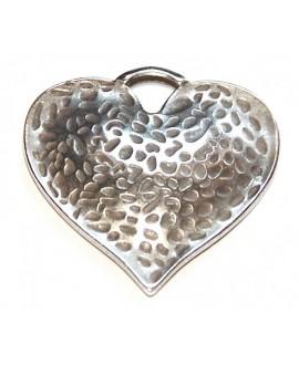 Colgante corazón 45mm, zamak baño de plata