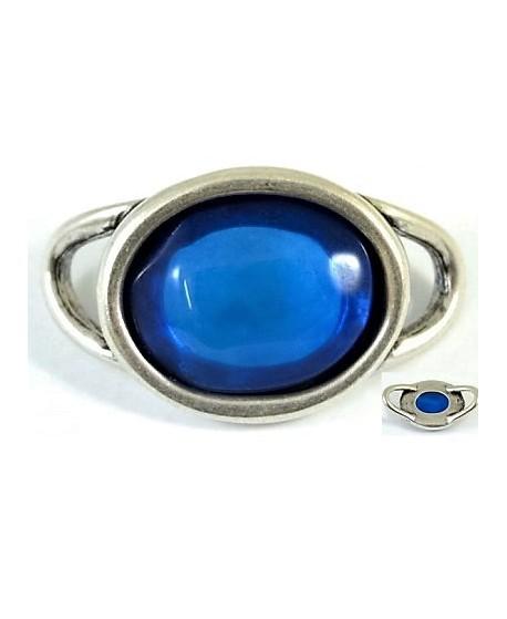 Entre-pieza 55x33mm, resina azul y zamak baño de plata