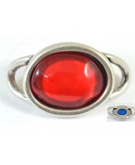 Entre-pieza 55x33mm, resina roja y zamak baño de plata