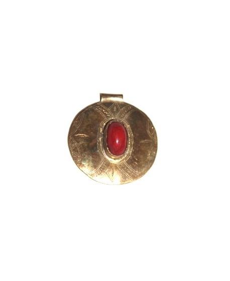 Colgante bronce y coral 60mm, paso 3mm