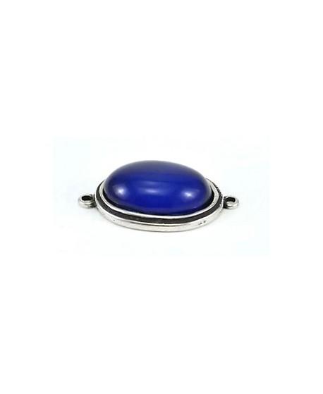 Entre-pieza 50x38mm, cabujón de resina azul 36x27mm y zamak baño de plata