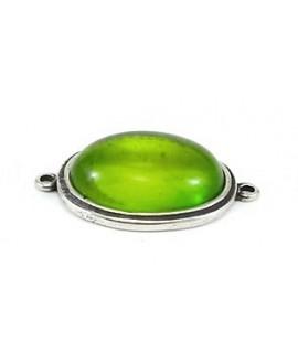 Entre-pieza 50x38mm, cabujón de resina verde 36x27mm y zamak baño de plata