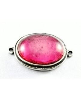 Entre-pieza 50x38mm, cabujón de resina rosa 36x27mm y zamak baño de plata