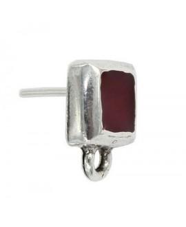 Pendientes cuadrado con esmalte rojo 15x12mm, zamak baño de plata, precio por par