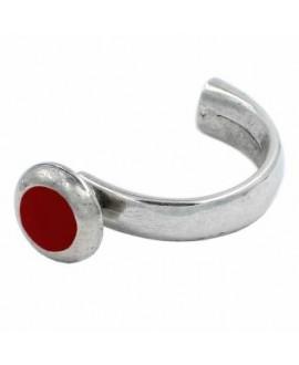 Media pulsera roja 62mmx34mm paso 10x6mm, zamak baño de plata