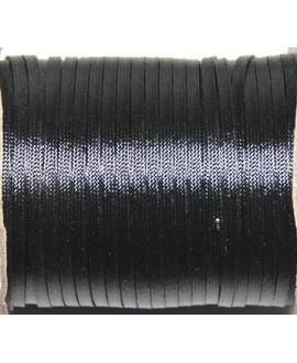 Hilo algodón plano negro 3x1mm, precio por 5 metros
