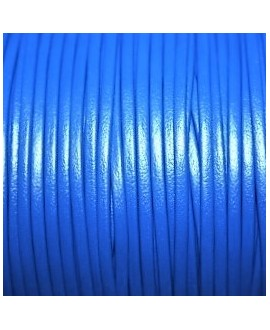 Tira cuero doblado alta calidad 2mm azul, precio por metro