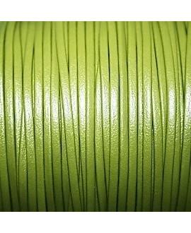 Tira cuero doblado alta calidad 2mm verde, precio por metro
