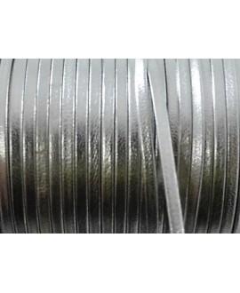 Tira cuero doblado alta calidad 3mm plateada, precio por metro