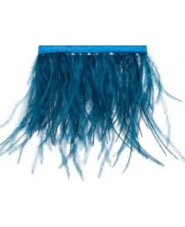 Fleco de pluma de avestruz de color azul de 25x10cm