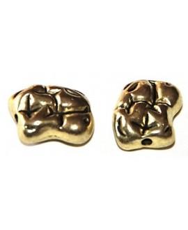 Cuenta piedras 13x9mm paso 1mm metal dorado, precio por 50 gr