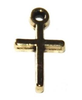 Colgante cruz metal dorada 13x7mm