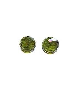 Cuenta cristal facetada verde AB 14mm, precio por 10 unidades