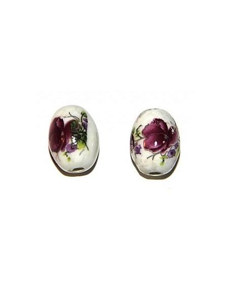 Porcelana ovalada flores 18x13mm, paso 2,5mm