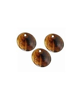 Colgante moneda resina 15mm marrón betas, precio por 6 unidades