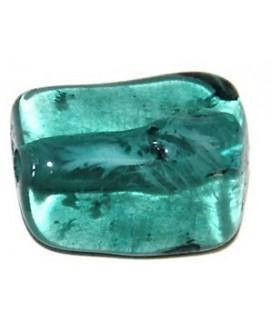 Cuenta resina rectángulo irregular turquesa, 20x15mm, paso 2mm