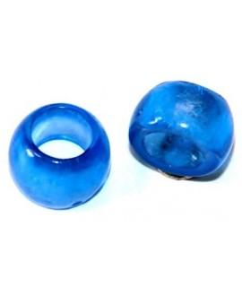 Cuenta resina azulón transparente, 7x10mm, paso 5mm