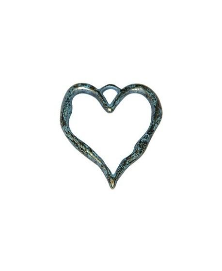 Colgante corazón patinado, 80x68mm