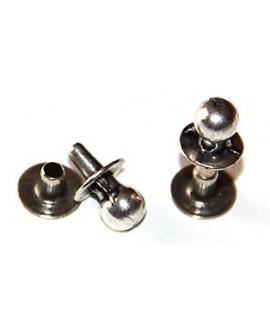 Remache 5mm, zamak baño de plata, precio por 15 unidades