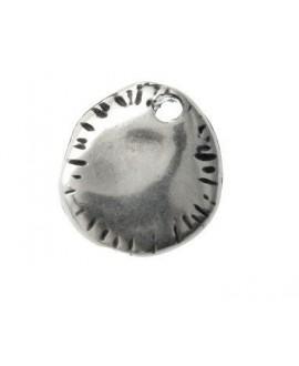 Colgante chapita rayas, 12mm, zamak baño de plata