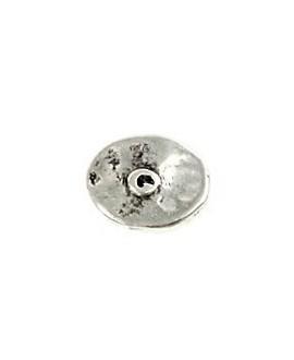 Donut irregular 16x13mm paso 2mm, zamak baño de plata