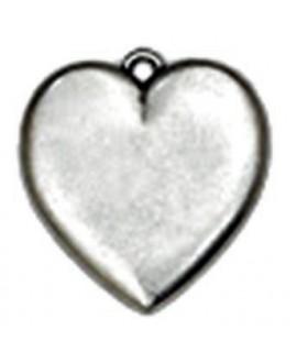 Colgante corazón 52 x 55 mm, zamak baño de plata