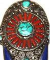 Mano de Fátima  con incrustaciones de coral, turquesa y lapislázuli, 75x60mm
