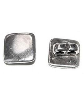 Entre-pieza botón 15mm, paso doble 3mm, precio por 15 unidades, zamak baño de plata