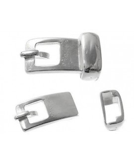 Cierre hebilla dos partes 30x18mm paso 10x2mm, zamak baño de plata