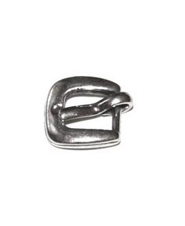 Cierre hebilla mini 12x12mm, baño de plata, paso 6mm, precio por 5 unidades