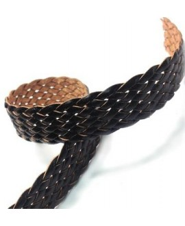 Cuero plano trenzado negro 22mm, precio por 20cm
