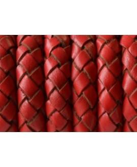 Cuero trenzado redondo 10mm, rojo. Calidad superior, precio por 20cm