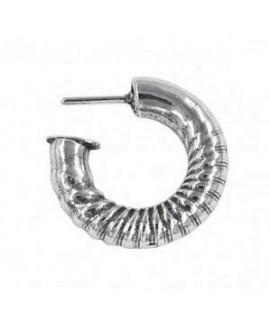 Pendientes aro grueso rizado 27mm, zamak baño de plata, precio por par