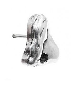 Pendientes desigual 14x12mm, zamak baño de plata, precio por par