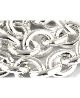 Cadena eslabones ovalados 14x11mm latón baño de plata, precio por 20cm
